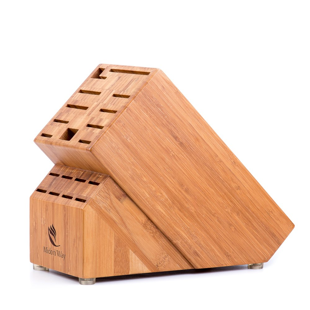 Bamboo Knife Block (Without Knives), Best For Storage Of Your Quality Cutlery. Stylish and Eco-Friendly, This Beautiful & Professional Wooden Block Will Be A Great Kitchen Addition. By Midori Way by Midori Way (Image #6)