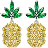 Creative Design Woman Gold-plated Trim Pineapple Puncture Tropical Yellow Zircon Earrings 0.4x1.02 (in)