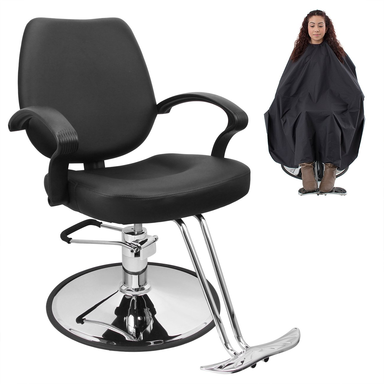 amazoncom bellavie classic hydraulic barber chair salon beauty spa hair styling black wbarber cape beauty - Barber Chairs For Sale