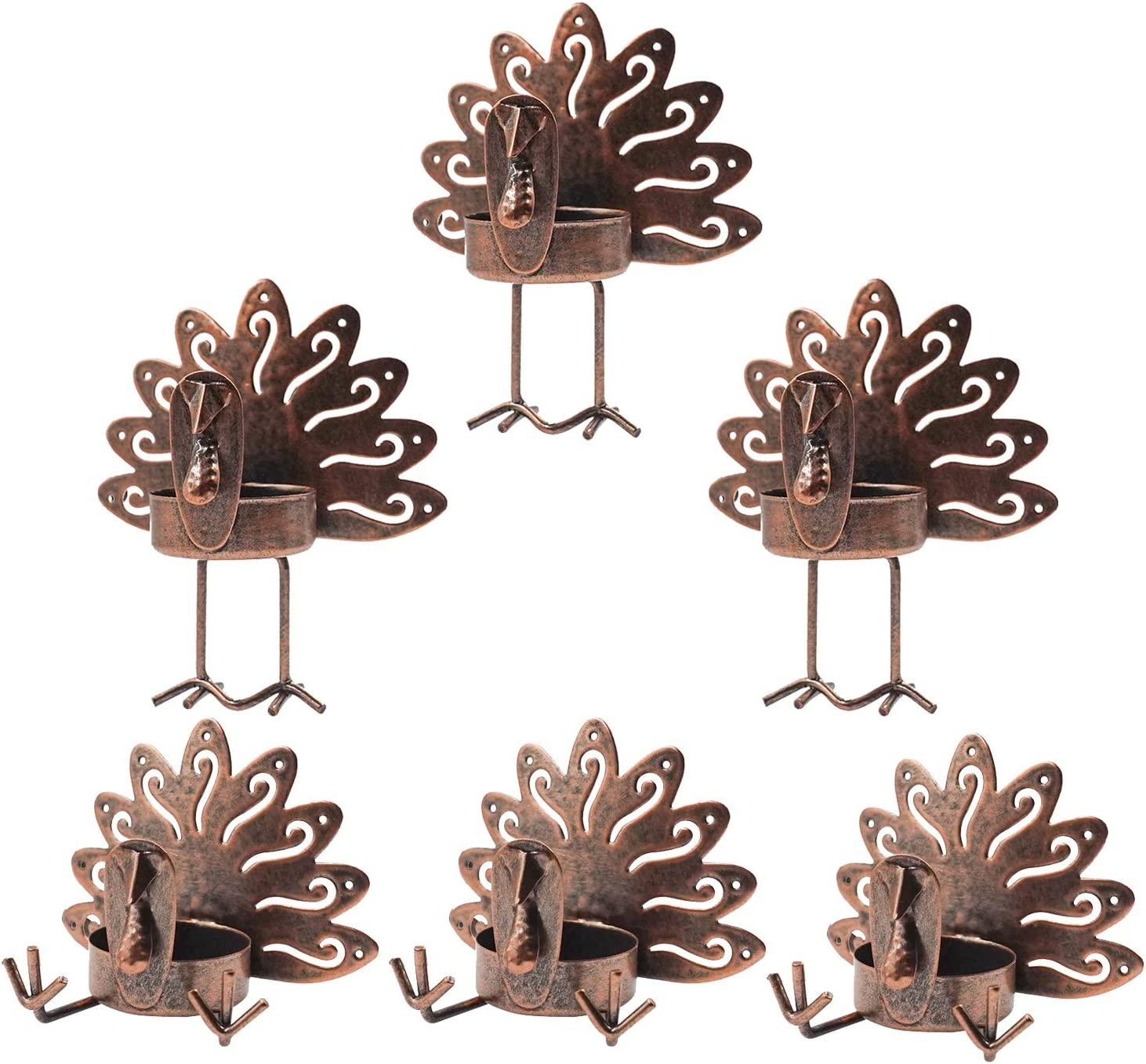 Funpeny 6 Pack Metal Turkey Tealight Candleholders, 6 Pack Turkey Tea Light Candle Holders Holiday Candlestick Thanksgiving Decoration for Home, Table, Fireplace, Window