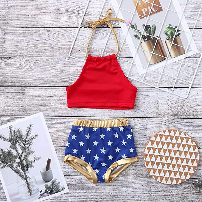 3c51817a115 Kingspinner Girls Two Piece Swimsuit Sling Backless Bikini Tops + Star Print  Shorts Bikini Set Swimwear. Back. Double-tap to zoom