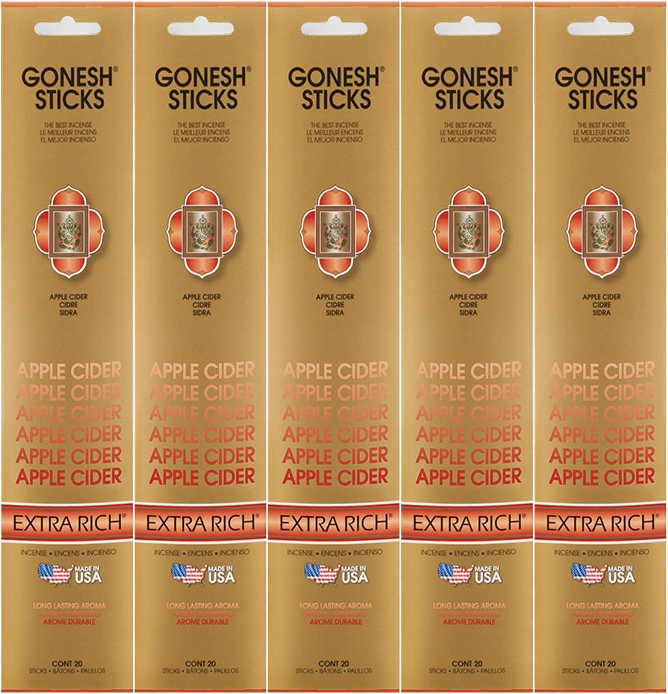 Gonesh Incense Sticks Extra Rich Collection - Apple Cider 5 Packs (100 Total)