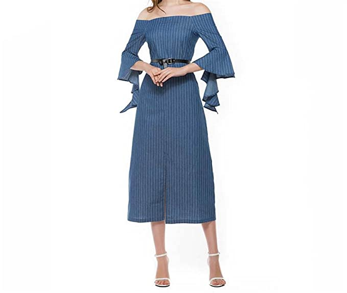 Amazon.com: Eloise Isabel Fashion dress com belt plus size listrado azul da luva do ombro off dress para as mulheres elegante do vintage dress femme: ...