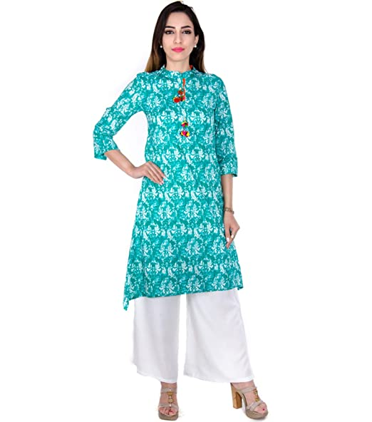 Stand Collar Designs For Kurti : Women s designer cotton stand collar printed with handwork