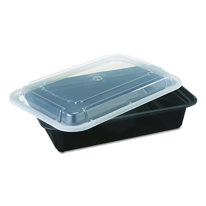 Pactiv NC888B VERSAtainers Food Containers with Lids, Black/Clear, 38 Oz, 6w x 8 1/2d x 2h (Case of 150)