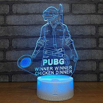 SJSF L Luz De Noche 3D Juego Jugador DesconocidoS Battlegrounds Lámpara Pubg Ganador Cena de Pollo