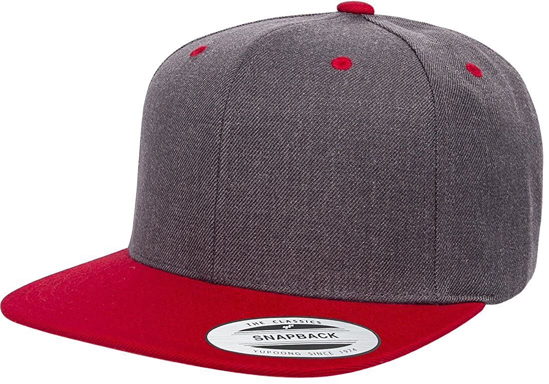 2746c9d8146 Amazon.com  Yupoong 6089M Classic Snapback Pro-Style Wool Cap by Flexfit  (Dark Heather)  Clothing