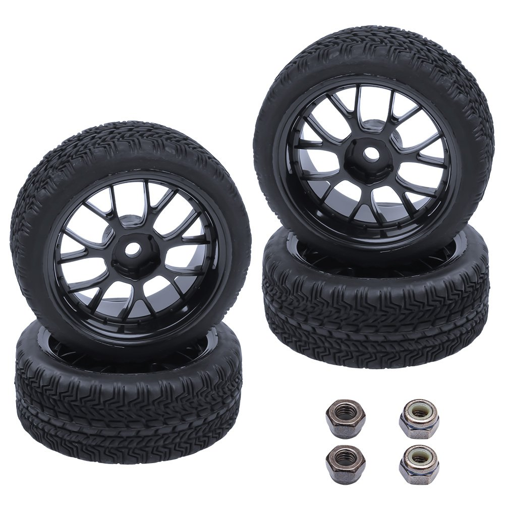 (4-Pack) HobbyPark Rubber Tires & Wheels 12mm Hex Drive Hub For 1/10th Scale RC Touring Car DNhobby