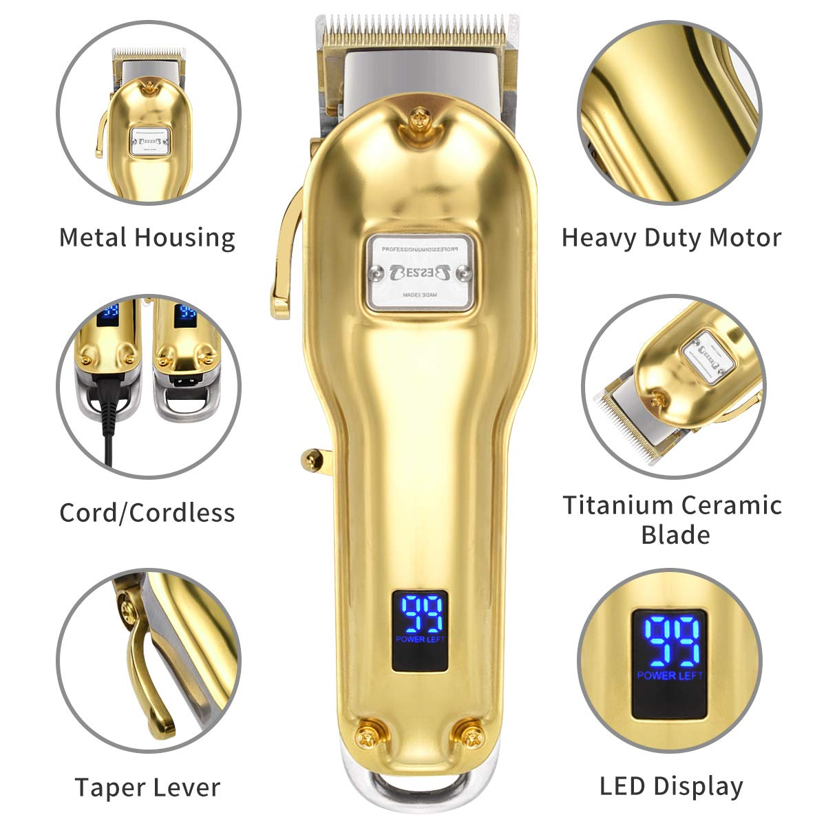 BESTBOMG Professional Cordless Haircut Kit Clippers for Men Rechargeable Hair Clippers Set LED Display with Stainless Steel Metal Housing Heavy Duty Motor for Men, Women, Kids