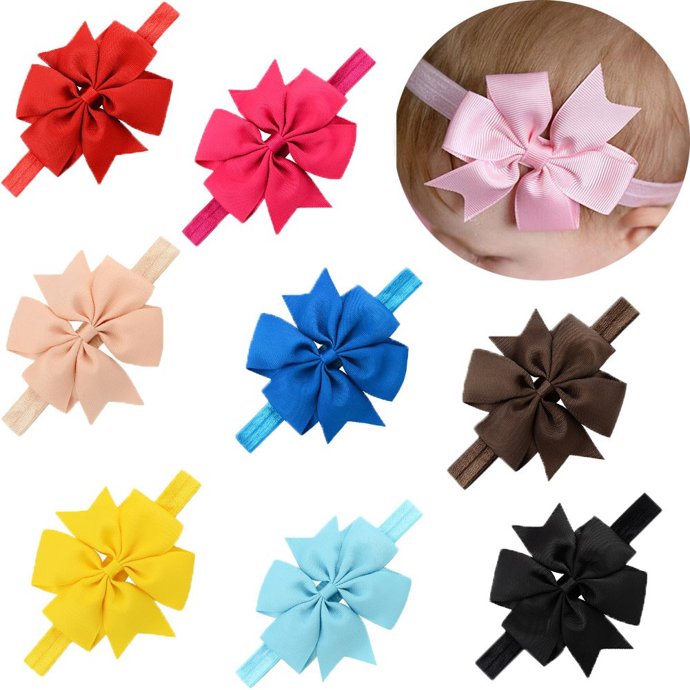 LQSmile Baby Girl's Beautiful Elastic Hair Hoops Headbands with Hair Bow for Take Photograph