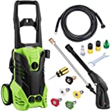 shaofu 3000 PSI Electric Pressure Washer 1800W Rolling Wheels High Pressure Professional Washer Cleaner Machine with Power Hose Nozzle Gun and 5 Quick-Connect Spray Tips (US Stock)