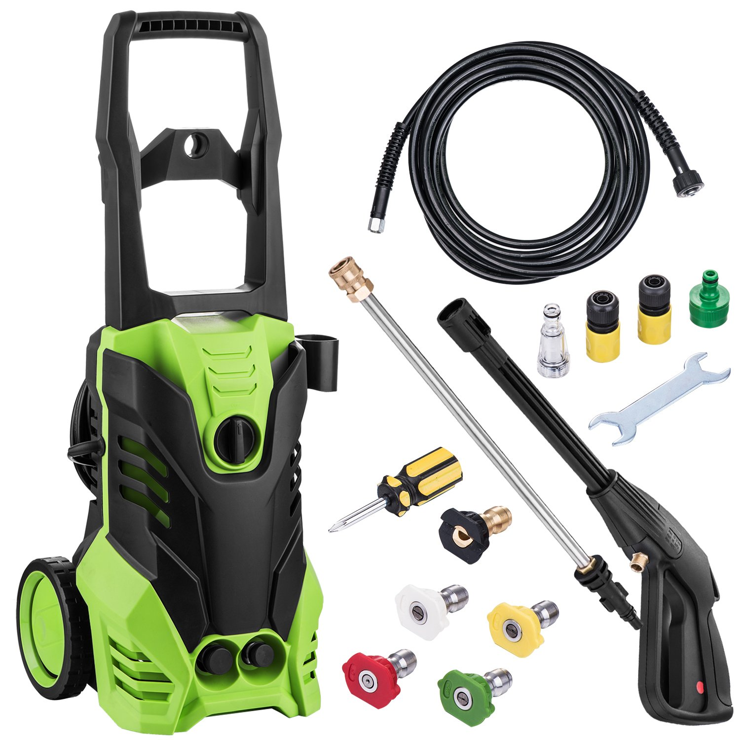 shaofu 3000 PSI Electric Pressure Washer 1800W Rolling Wheels High Pressure Professional Washer Cleaner Machine with Power Hose Nozzle Gun and 5 Quick-Connect Spray Tips (3000 PSI)