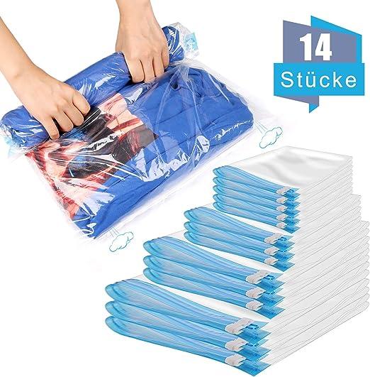 14 Stk Vakuumbeutel Kleideraufbewahrung Vacuum Vakuum Bag für Betten Kleidung