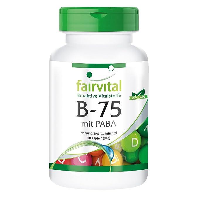B-75 PABA - Áácido Para-Aminobenzoico - VEGANO - dosis alta - 90 Cápsulas - complejo de la vitamina B - ¡Calidad Alemana garantizada!: