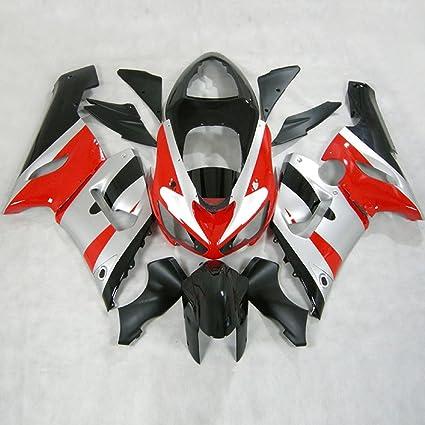 Moto Onfire ABS Plastic Fairing Kits with Full Fairing Bolts For Kawasaki ZX6R ZX-6R Ninja 636 2005 2006 (Silver Red Black)