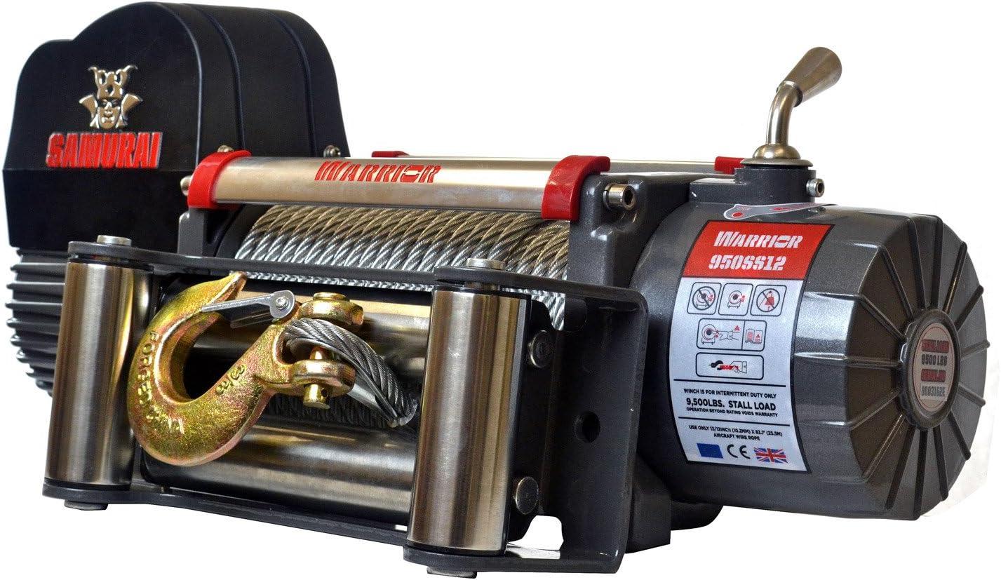 Cabrestante eléctrico 12V con radio (mando a distancia) 4.3t Warrior Samurai S9500Acero–Cabrestante (para colgante, vehículos &