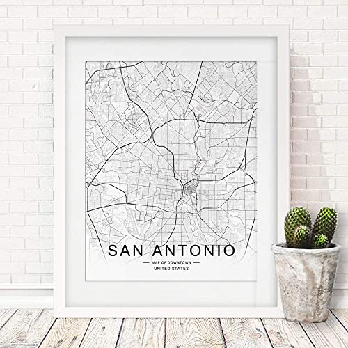 Amazon.com: San Antonio City Downtown Map Wall Art San Antonio ... on