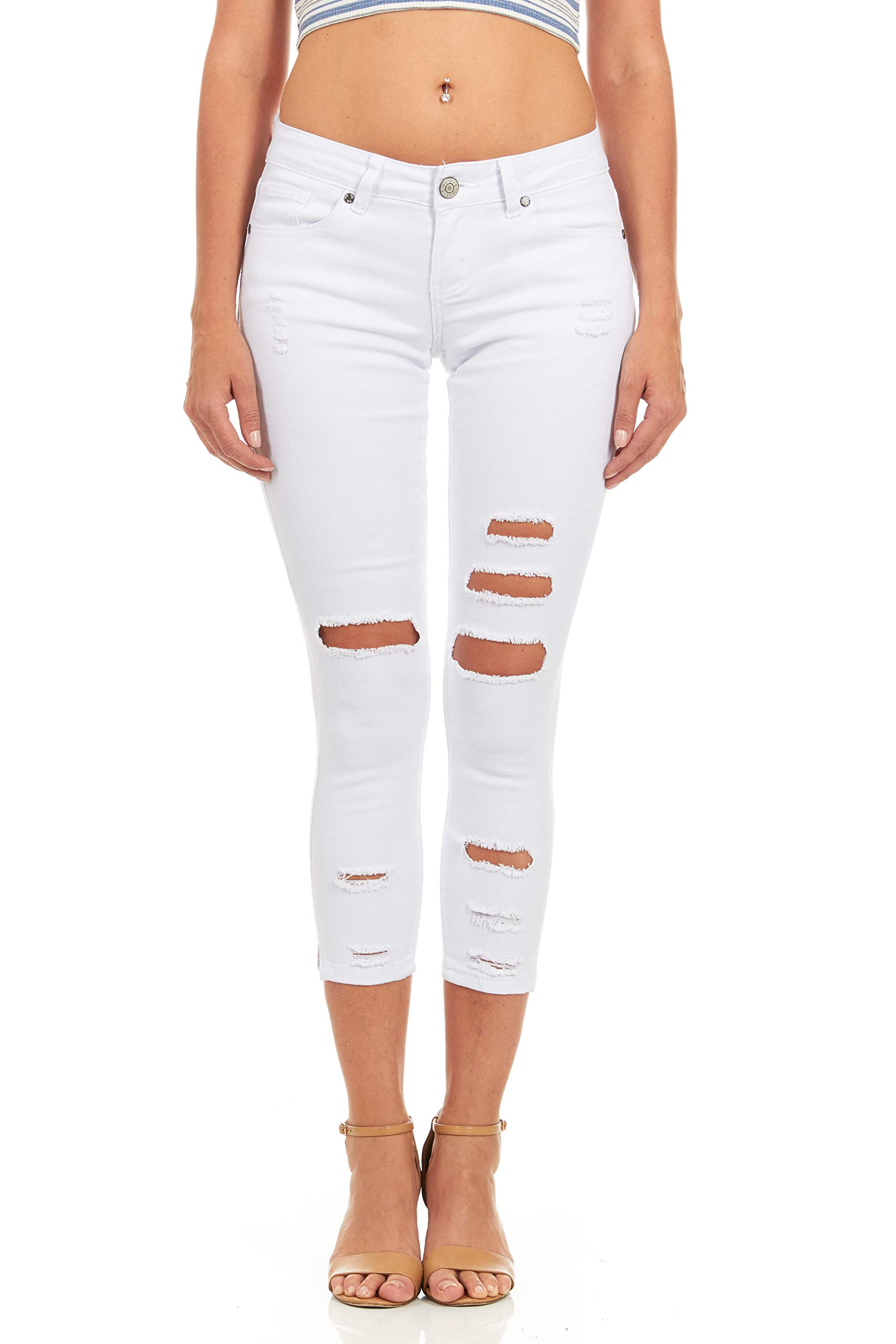 Cover Girl Women's Ripped Cropped Skinny Jeans, Sexy White, 11