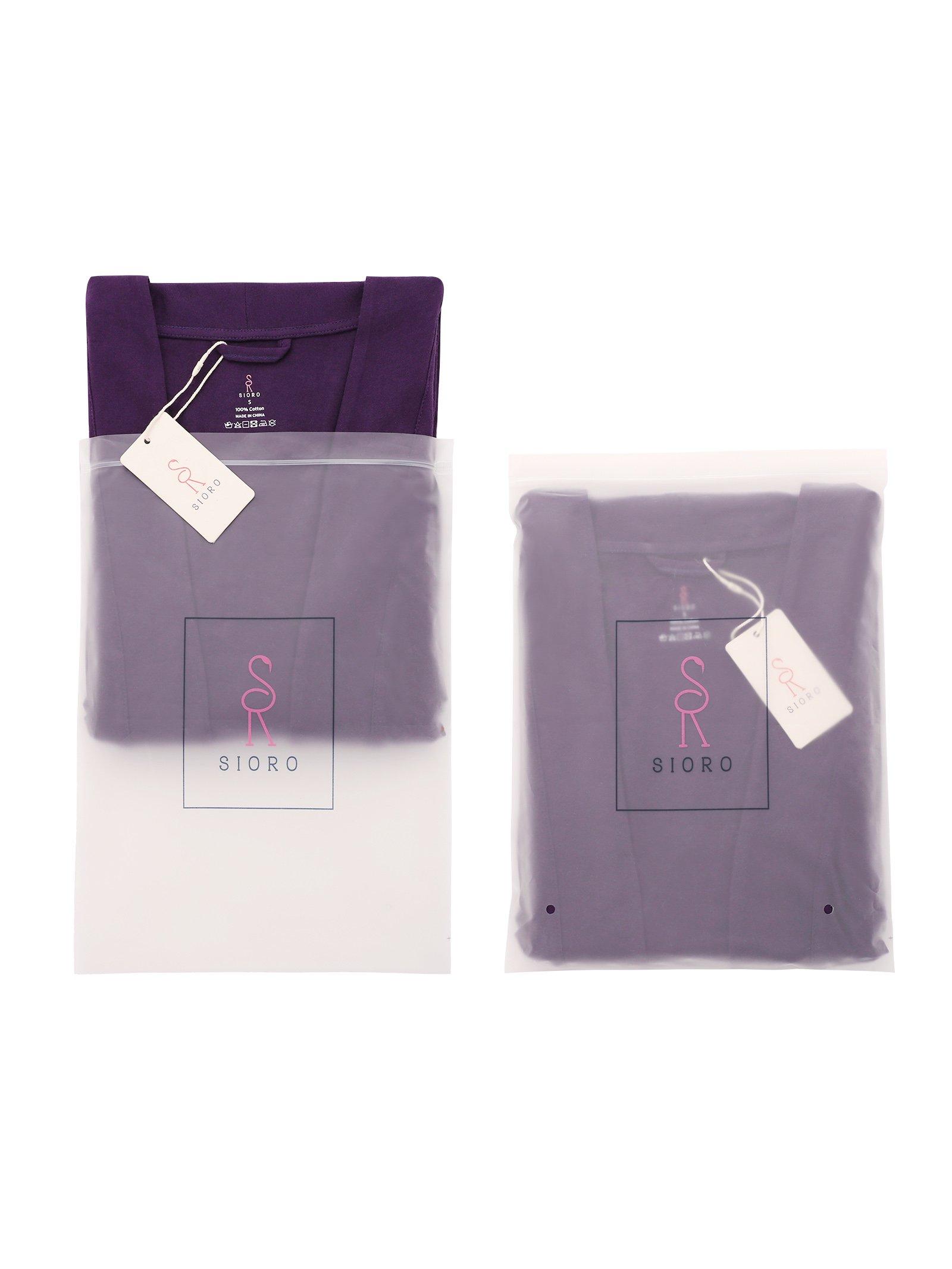 SIORO Cotton Robes Lightweight Kimono Robe Gowns Soft Knit Bathrobe Nightwear V-Neck Loungewear Sexy Sleepwear Short for Women, Black, S by SIORO (Image #7)