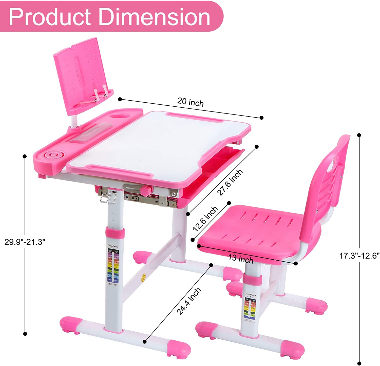 Tilt Desktop with Reading Board Ergonomic Design Home School Use Student Anti-Reflective Writing Desk Red Pull Out Storage Drawer Kids Desk and Chair Set Height Adjustable Children Study Table
