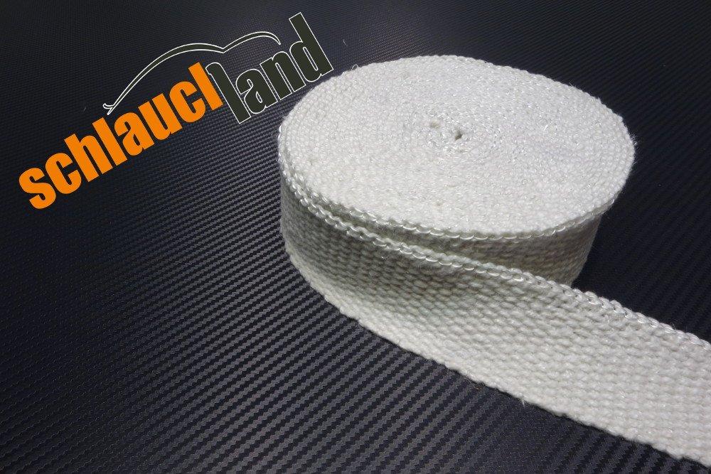 20m Keramik Hitzeschutzband 50mm weiss 1200° C *** Heat Wrap Turbo Fä cherkrü mmer Isolierband Auspuff Krü mmer Band Schlauchland