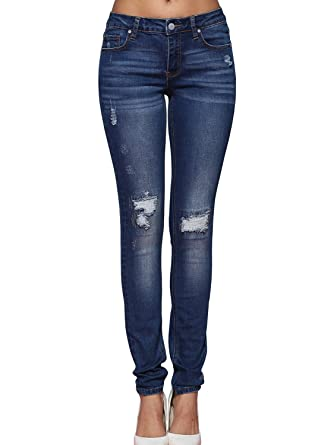 Alice & Elmer Petite Women's Cotton Stretch Mid Waist Ripped Holes Skinny Jeans  Long Blue-