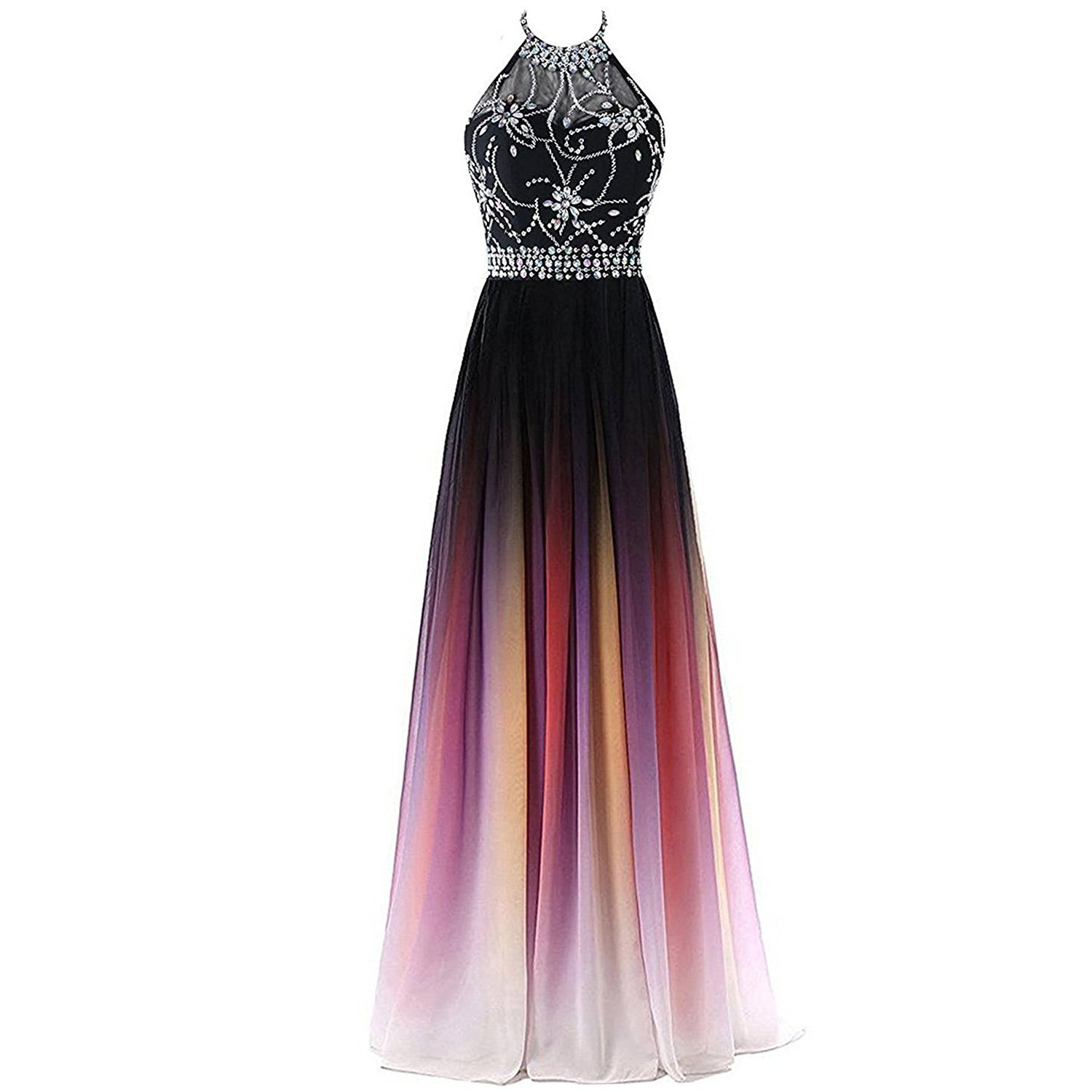 f5688f0863a8c Kivary Sheer Beaded Halter Gradient Ombre Chiffon Long Prom Evening Dresses  at Amazon Women s Clothing store