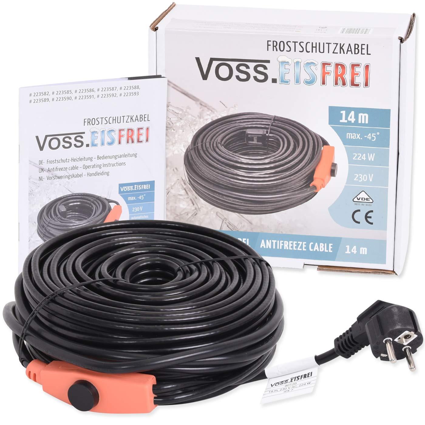 Frostschutz Heizkabel mit Knopf-Thermostat | VOSS.eisfrei | 1m 2m 4m 8m 12m 14m 18m 24m 37m 49m | 230V | Heizleitung Zum Schutz von Wasserleitungen und Weideträ nken