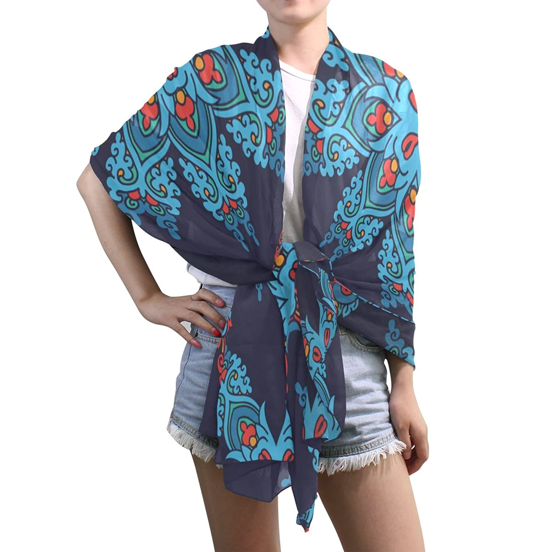 Shawl Wrap Sheer Scarves,Traditional Ethnic Blue Pattern,Oblong Chiffon Scarf