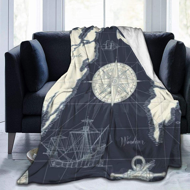 Manta Direction Caravel Traveler Discovery Treasure Abstracto Rueda en velero Retro Old Ultra Suave Manta de microforro polar cálida para adulto niño manta de viaje 132 x 101 cm