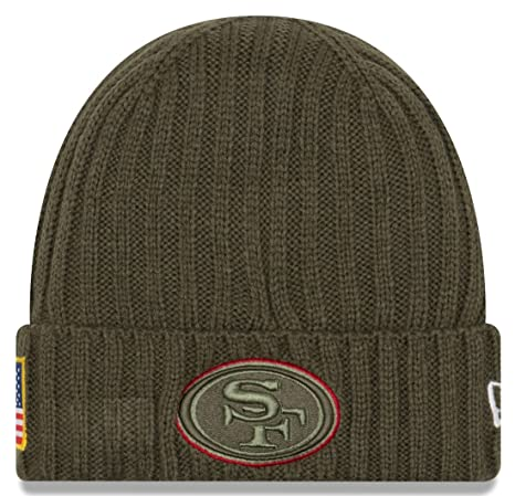 best service f66f0 1df42 Image Unavailable. Image not available for. Color  New Era San Francisco  49ers 2017 NFL Sideline Salute to Service Knit Hat