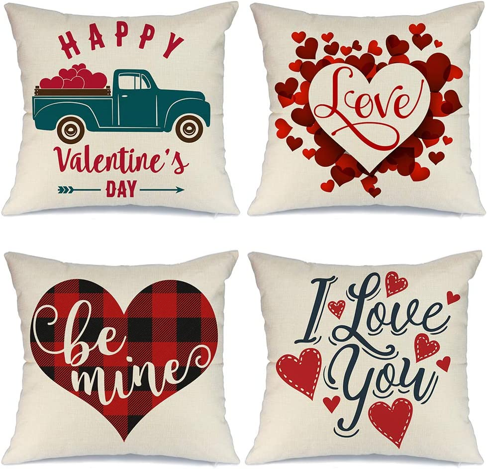 AENEY Valentines Day Pillow Covers 18x18 inch Set of 4 for Home Decor Red Love Truck and Love You Decor Happy Valentines Day Throw Pillows Decorative Cushion Cases Valentine Decorations A289