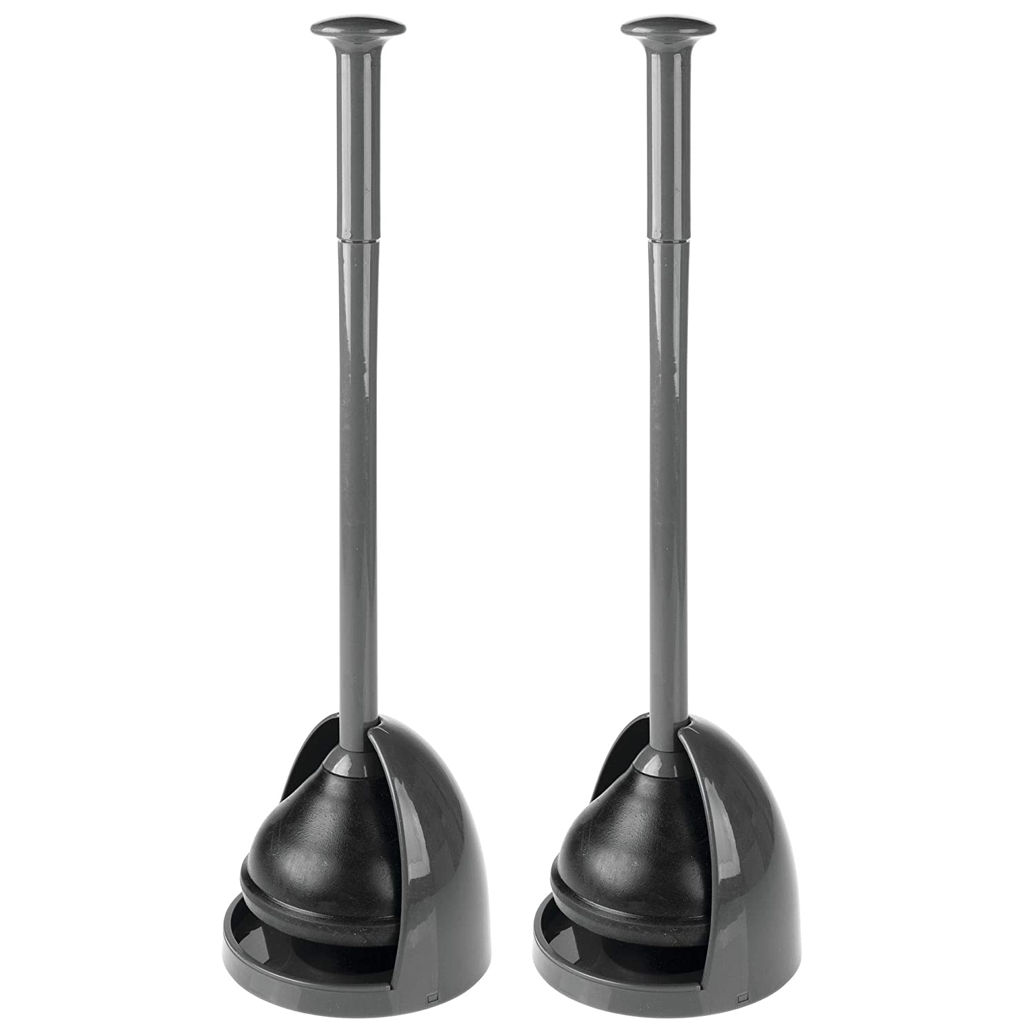 mDesign Plastic Toilet Bowl Plunger Set Drip Tray, Compact Discreet Freestanding Bathroom Storage Organization Caddy Base, Sleek Modern Design - Heavy Duty - 2 Pack, Charcoal/Gray MetroDecor