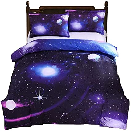 4pcs Beddingset Meteor Printed Duvet Cover Bed Sheet Pillowcase Polyester Brief Full King Queen Tiwn Beding Cover Be Novel In Design Home Textile