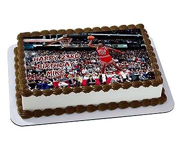 Michael Jordan Chicago Bulls Quarter Sheet Edible Photo Birthday Cake Topper Personalized 1