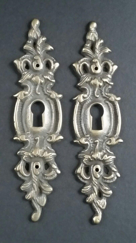 2 Vintage Antique Style Ornate French Eschutcheons Key Hole Covers 4 3/4'' #E11