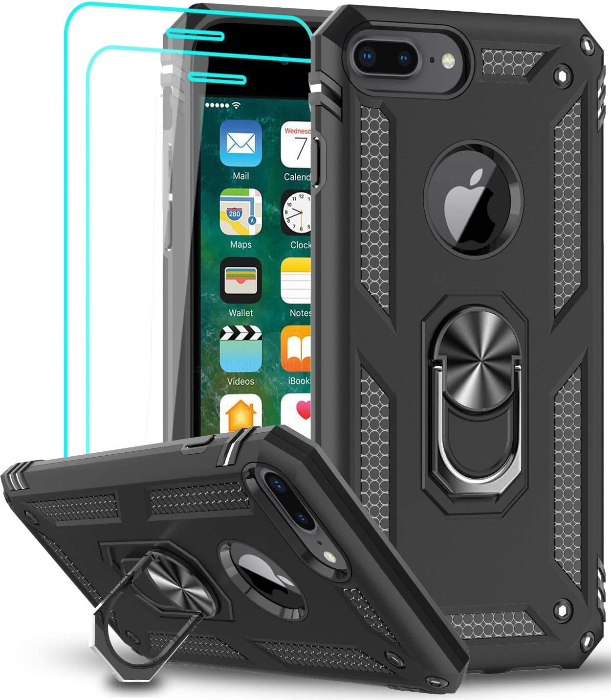 iPhone 8 Plus / 7 Plus / 6 Plus / 6s Plus Case with Tempered Glass Screen Protector [2Pack], LeYi Military Grade Phone Case with Car Mount Ring Kickstand for iPhone 8/7/6/6s Plus, Black