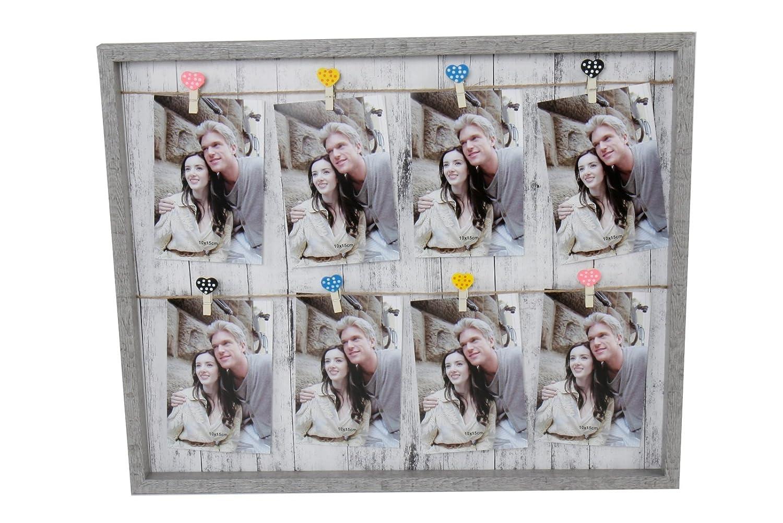 Amazon.de: Fotorahmen, Bilderrahmen mit 8 Herzklammern, grau-beige ...