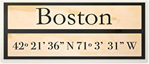 The Stupell Home Decor Collection Wood City Coordinates Boston Wall Plaque Art, 7 x 0.5 x 17, Proudly Made in USA