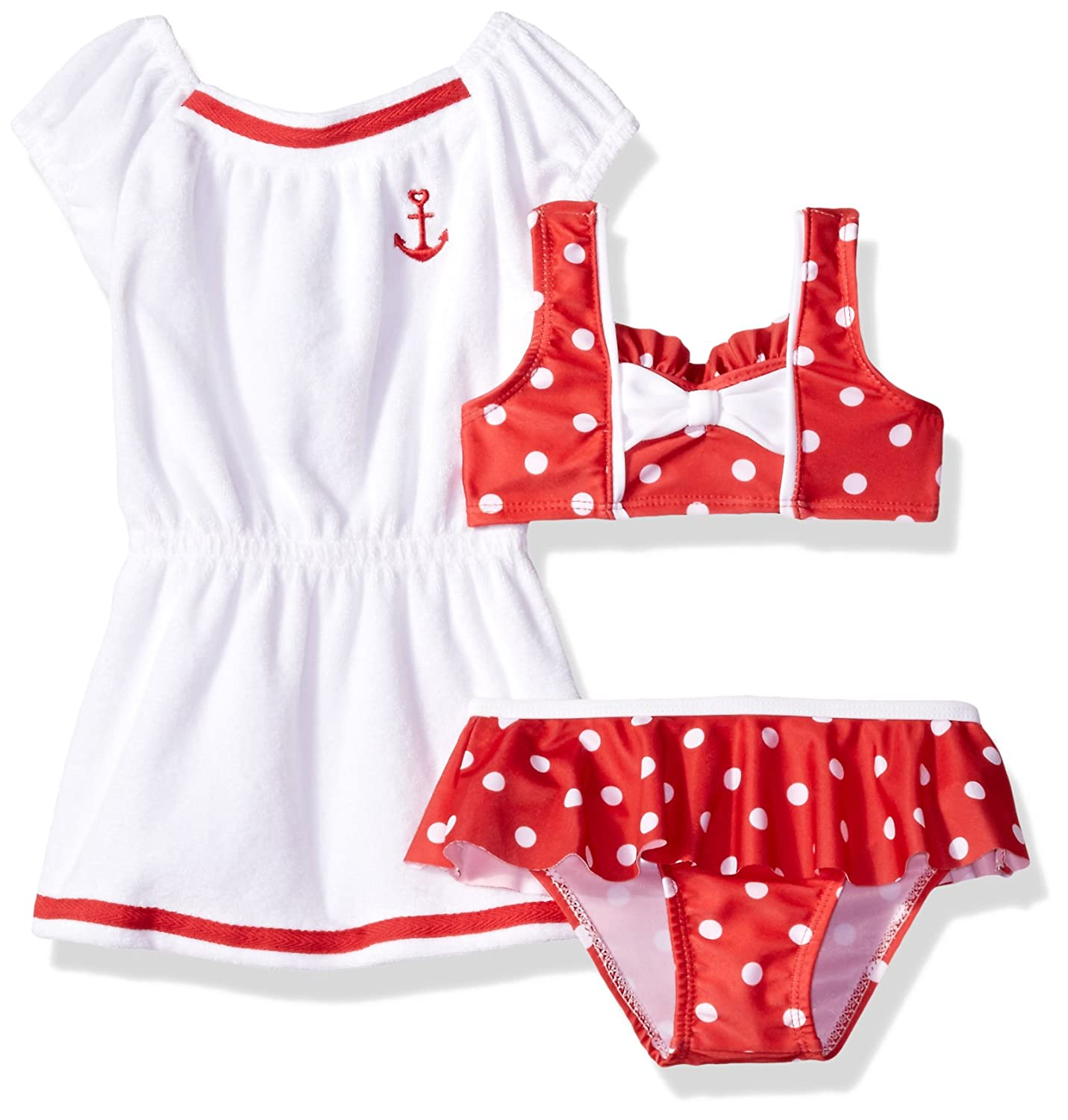 Baby Buns Girls' Dotty Terry Cover Up Swim Set W13834