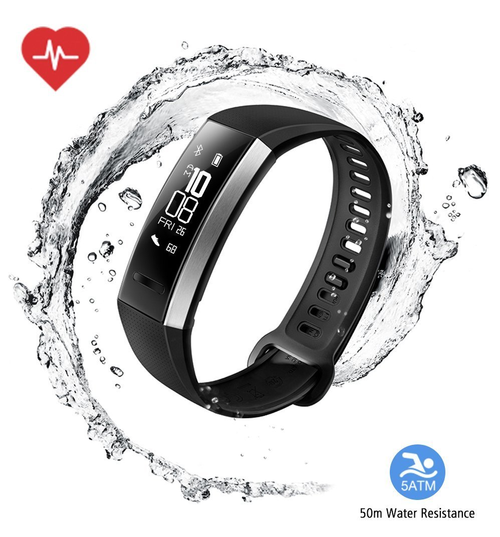 Huawei Band 2 Pro All-in-One Activity Tracker Smart Fitness Wristband | GPS | Multi-Sport Mode| Heart Rate | Sleep Monitor | 5ATM Waterproof, Black (US Warranty)