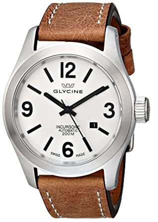 Glycine Incursore Automatic Stainless Steel Mens Strap Watch Silver Dial Calendar 3874 11 Lb