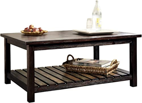 Signature Design by Ashley – Mestler Rustic Coffee Table w Fixed Multi-Colored Shelf, Brown