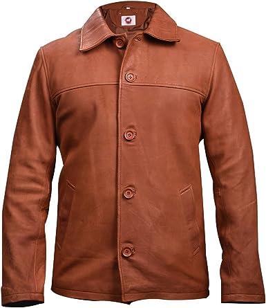 Men Blazer Style Two Button Real Leather Jacket Black Coat Jacket