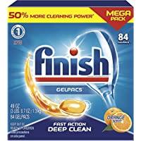Finish Gelpacs Dishwasher Detergent, Orange Scent, 84 Count