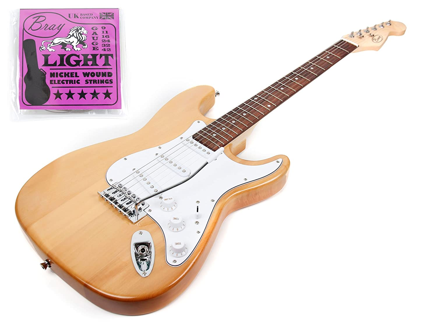Bray Full Size Wood Finish 6 String Electric Guitar Crafted