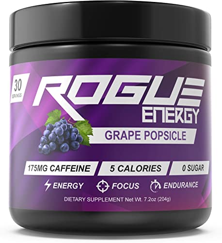 Rogue Energy – Gaming Drink for Hours of Energy Focus, Esports Gamer Supplement, Sugar Gluten Free Grape Popsicle Tub 30 Servings