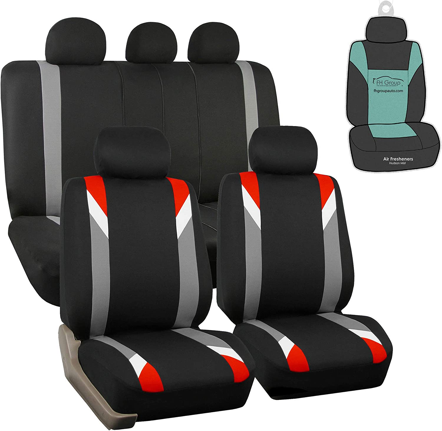 FH Group FB033115 Premium Modernistic Seat Covers Airbag & Split Ready, Red/Black with Gift - Fit Most Car, Truck, SUV, or Van