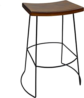 product image for Carolina Chair and Table Hadley Saddle Seat Bar Stool, Chestnut/Black