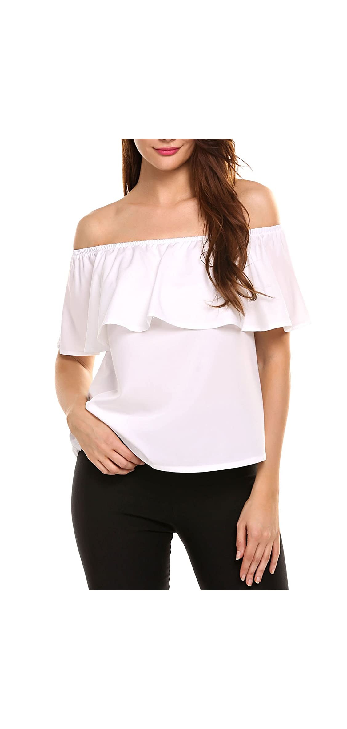 Women's Off Shoulder Ruffles Solid Casual Blouse Loose